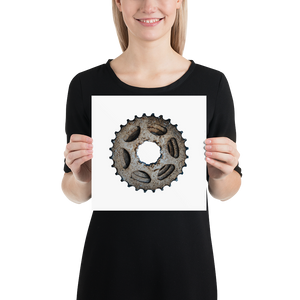 Open image in slideshow, Woman holding grey cycling gear on white background poster