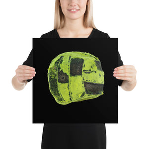 Woman holding green futsal on black background poster