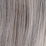 Chrome (4R/51/56/60) - Cappuccino brown root with gradual mixture of 30% gray, 10% gray, and white at the tip