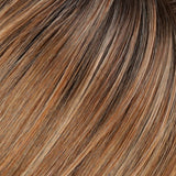 27T613S8 - Shaded Sun :: Med Natural Red-Gold Blonde & Pale Natural Gold Blonde Blend and Tipped, Shaded w/ Med Brown - Salon Color Levels: 8NR/12NG/5N