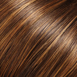 6F27 - Brown w/ Lt Red-Gold Blonde Highlights & Tips - Salon Color Levels: 4N/8RG