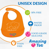 Waterproof Easy Clean Baby Silicone Bibs with pockets (2 Pack)- Soft & Stain resistant w/ FREE spoon and extender