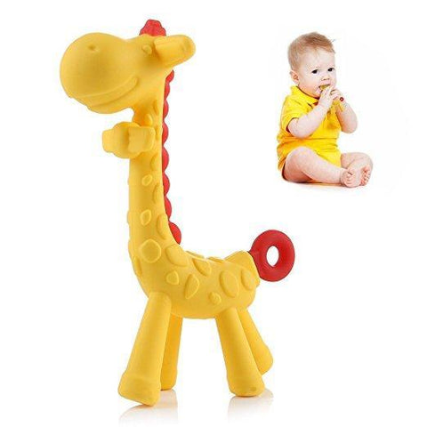 Giraffe Baby Teether Toy - Teething Pacifier Chew Rings for Babies, Infant and Toddler - Soft Silicone, BPA-Free, Natural Organic