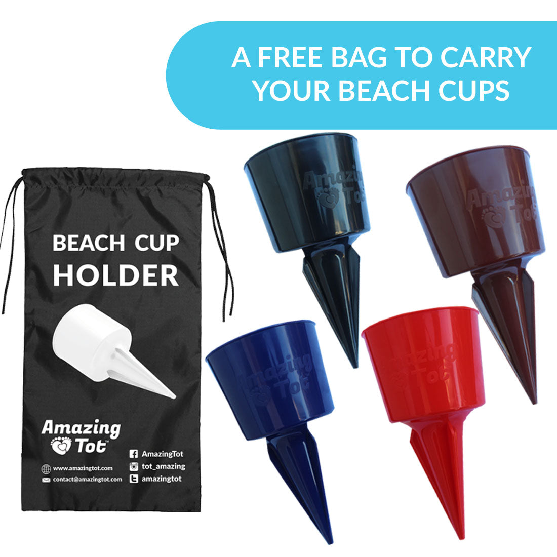 Beach Sand Coaster Cup Holder - Perfectly Sized Beach Beverage Holder for Drinks and Small Items - Available in Multiple Colors - Drink Cup Holder Made of Quality Plastic