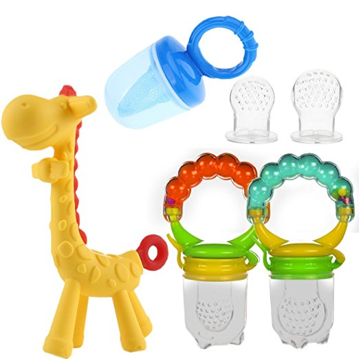 Baby Fruit Feeder Mesh Pacifier Set with Teething Girafee Toy