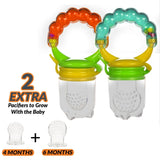 Teething Drooling Baby Set – Includes Teething Pads for Ergobaby 360 Carrier, 2 baby fresh fruit feeders, mesh feeder, 2 Infant Pacifiers and Girafee Teether Toy for Infants & Toddlers