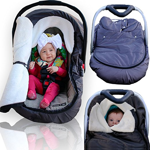 Weatherproof Comfy Infant Baby Car Seat Cover - Sneak A Peek Stroller Cover for Cold Winter Weather