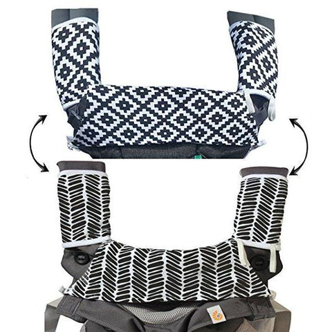 Drool & Teething Pad - Reversible Organic Cotton 3-Piece set - Ideal for Infant Toddler Girls & Boys - Fits all Carriers