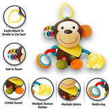 Teething Drooling Baby Set – Includes Chew Suck Pads for Ergobaby 360 Four Position Baby Carrier & Monkey Plush Activity Teether Toy for Infants and Toddlers