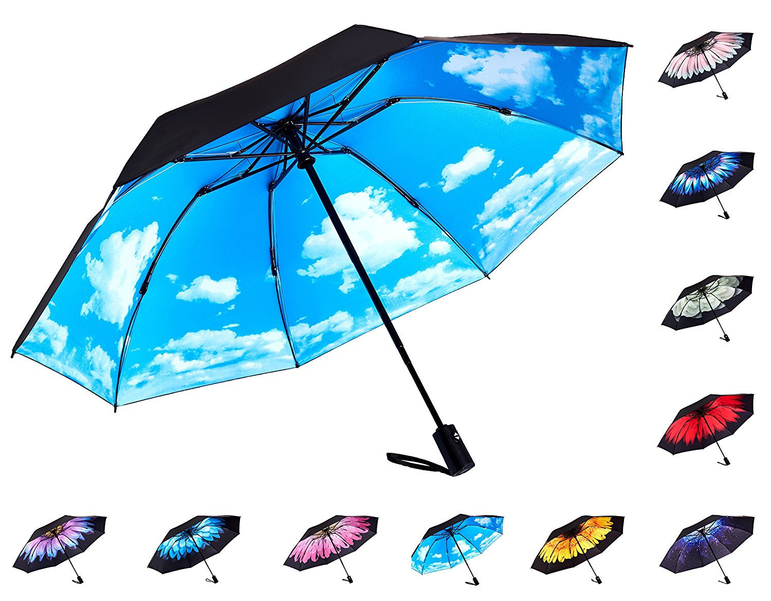 Reverse Inverted Compact Light Windproof Outdoor Umbrella - Auto Open Close