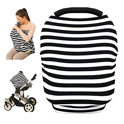 Baby Car Seat Cover canopy nursing and breastfeeding cover (black and white stripe)