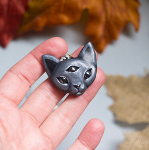 Three Eyed Cat Necklace