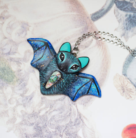Blue Monarch Opal Bat Necklace