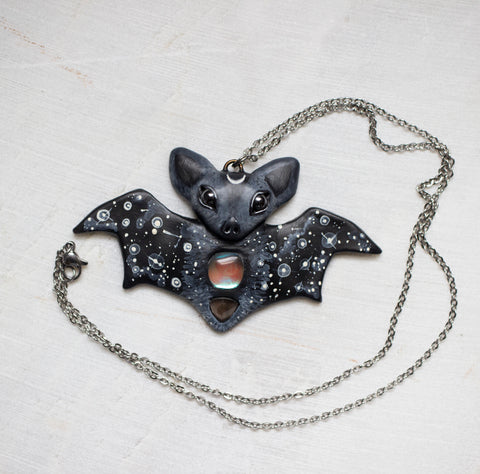 Aura Quartz Bat Necklace