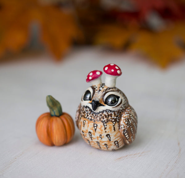 Orange Pumpkin Owl Figurine