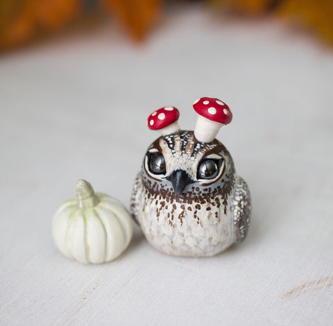 White Pumpkin Owl Figurine