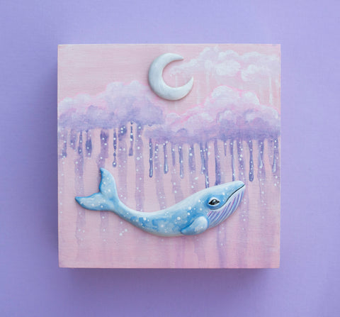 Pink Cloud Whale Painting
