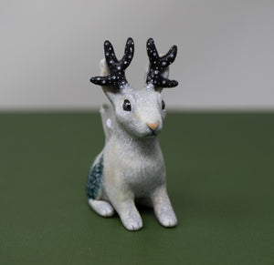 White Winter Jackalope Figurine