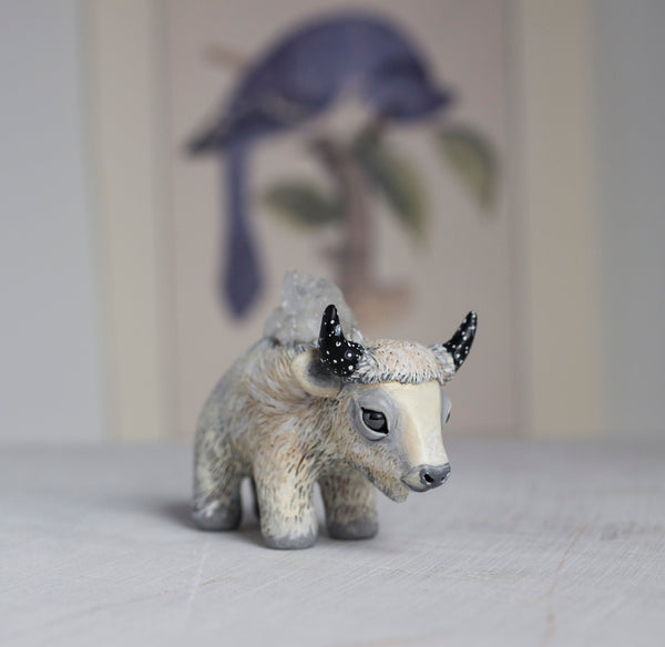 White Winter Buffalo Figurine