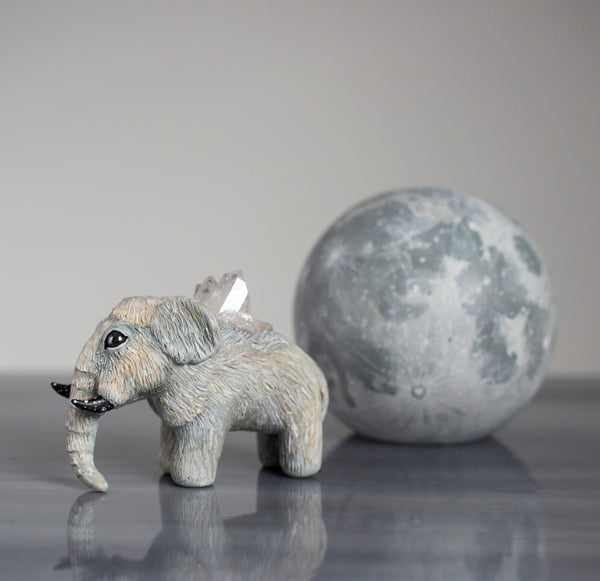 White Winter Woolly Mammoth Figurine