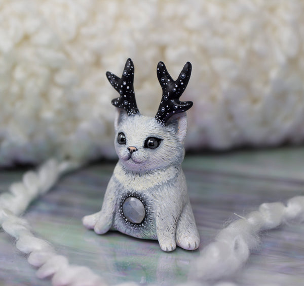 White Winter Kitty Figurine