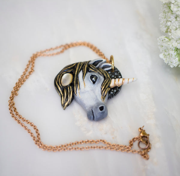 Mother of Pearl Unicorn Necklace