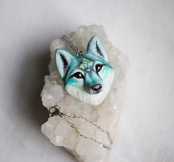 Monarch Opal Wolf Necklace