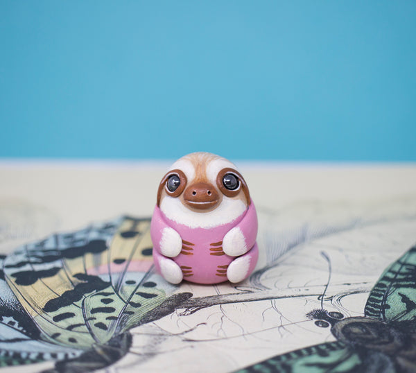 Rose Sloth Figurine