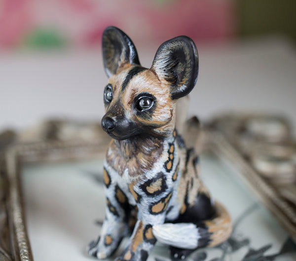African Wild Dog Figurine