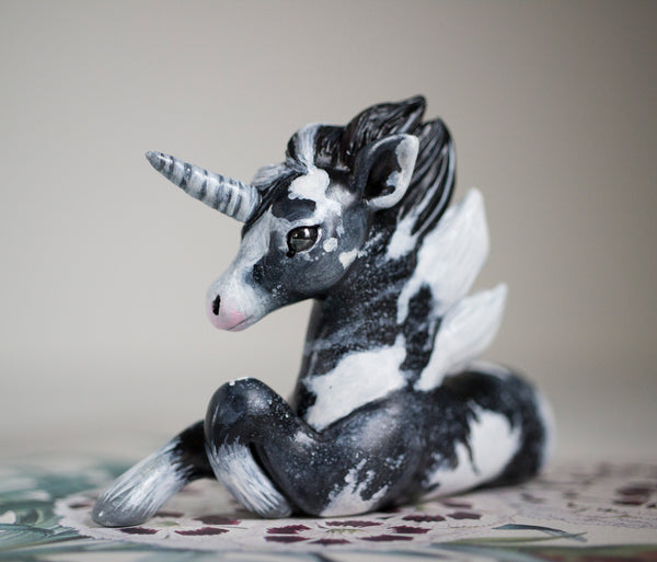Black and White Unicorn Figurine