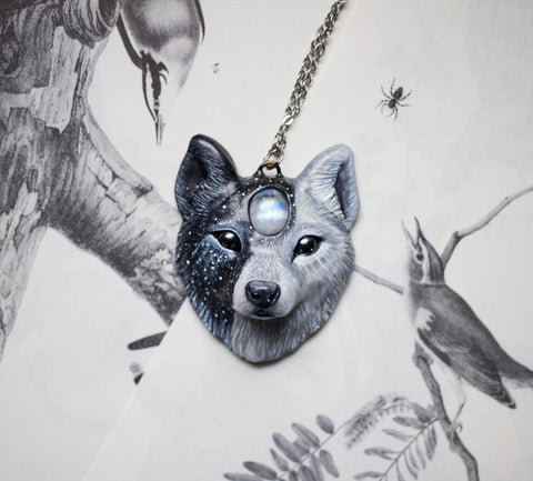 Light and Dark Wolf Necklace