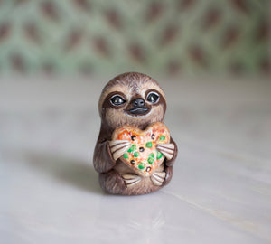 Pizza Heart Sloth Figurine