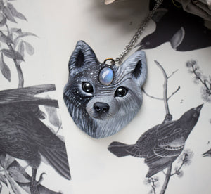 Wolf #1 Moonstone Wolf Necklace