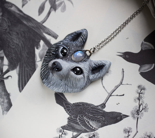Wolf #2 Moonstone Wolf Necklace
