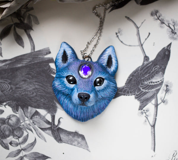 Wolf #3 Mystic Quartz Wolf Necklace