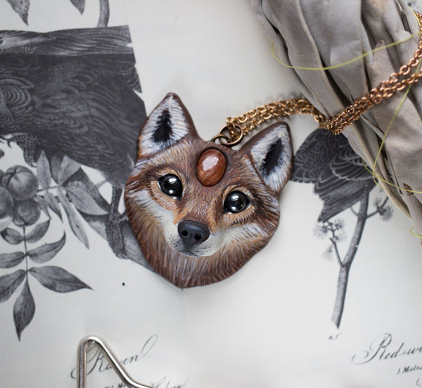 Wolf #5 Sunstone Wolf Necklace
