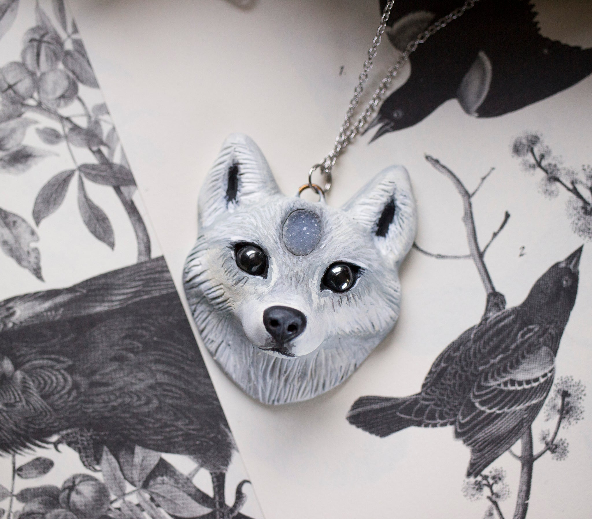 Wolf #4 Druzy Wolf Necklace