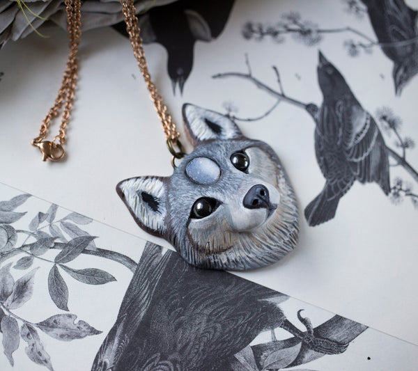 Wolf #6 Druzy Wolf Necklace