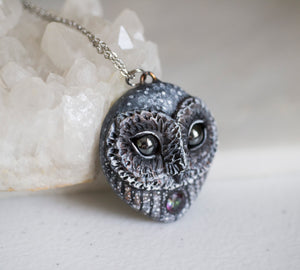 Mystic Quartz Barn Owl Necklace