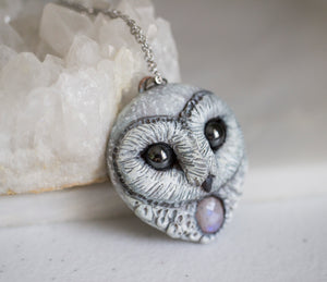 Moonstone Barn Owl Necklace