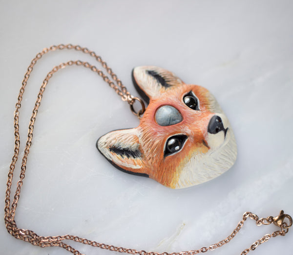 Aquamarine Fox Necklace