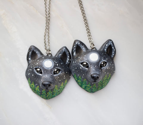 Night Time Wolf Necklace