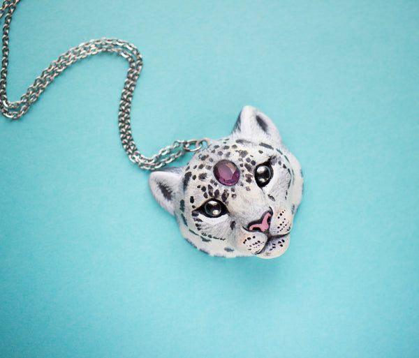 Amethyst Snow Leopard Necklace