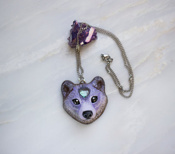Labradorite Bear Necklace