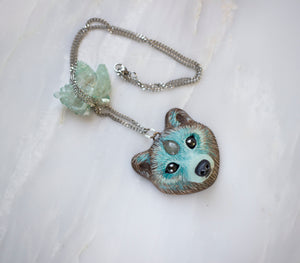 Aquamarine Bear Necklace