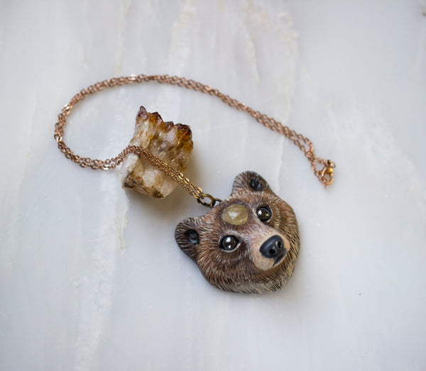 Golden Rutilated Bear Necklace
