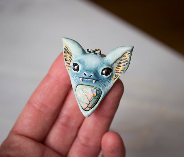 Monarch Opal Bat Pendant