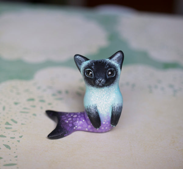 Blue and purple siamese merkitty figurine