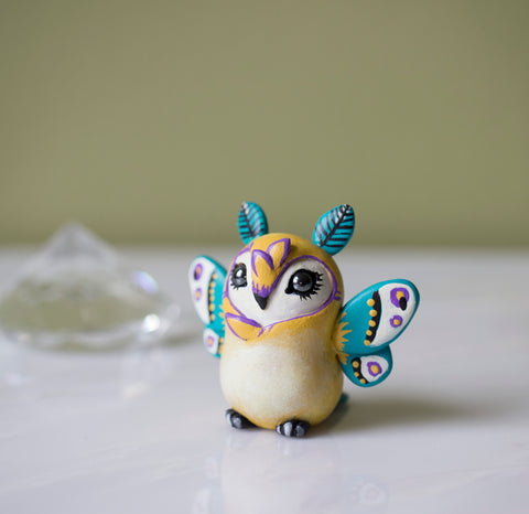 Yellow Moth Owl Figurine