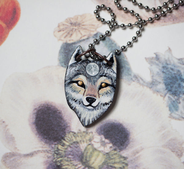 Ceramic Wolf Necklace